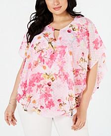 Plus Size Printed Poncho Top