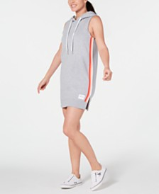 Calvin Klein Performance Striped Sleeveless Hoodie Dress
