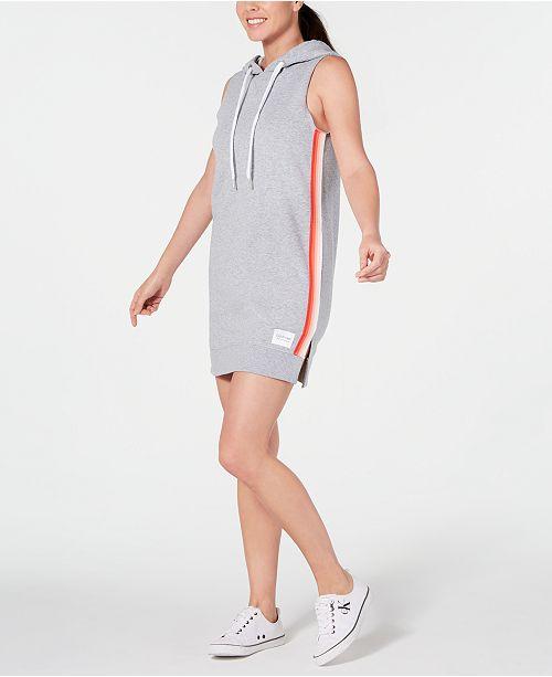 Calvin Klein Striped Sleeveless Hoodie Dress