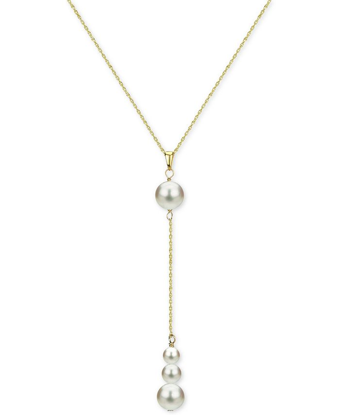 """Macy's - Cultured Freshwater Pearl (4-8mm) 18"""" Lariat Necklace in 14k Gold"""