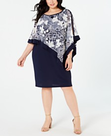 R & M Richards Plus Size Asymmetrical Poncho Dress