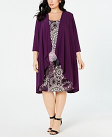 Plus Size High-Low Jacket & Printed Shift Dress
