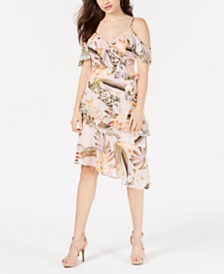 GUESS Printed Cold-Shoulder Dress
