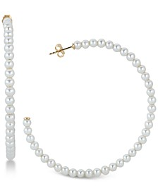 Cultured Freshwater Pearl (3-1/2mm) Hoop Earrings in 14k Gold