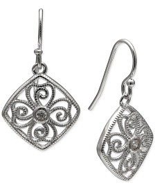 Giani Bernini Cubic Zirconia Decorative Drop Earrings in Sterling Silver, Created for Macy's