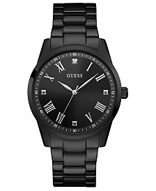 GUESS Men's Diamond-Accent Black Stainless Steel Bracelet Watch 42mm