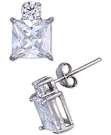 Giani Bernini Cubic Zirconia Square & Round Stud Earrings in Sterling Silver, Created for Macy's