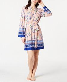 Lulita Floral-Print Satin Wrap Robe