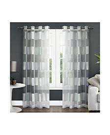 Exclusive Home Navaro Striped Sheer Grommet Top Curtain Panel Pair