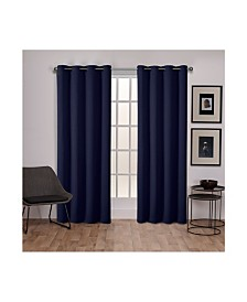 Exclusive Home Sateen Twill Woven Blackout Grommet Top Curtain Panel Pair