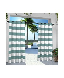 Exclusive Home Indoor Outdoor Stripe Cabana Grommet Top Curtain Panel Pair