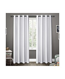 Sateen Twill Woven Blackout Grommet Top Curtain Panel Pair