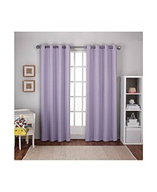 Textured Woven Blackout Grommet Top Curtain Panel Pair