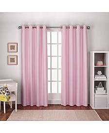 Textured Linen Woven Blackout Grommet Top Curtain Panel Pair