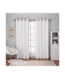 Exclusive Home Textured Linen Woven Blackout Grommet Top Curtain Panel Pair