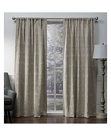 Exclusive Home Damask Medallion Chenille Woven Blackout Rod Pocket Curtain Panel Pair