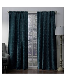 "Exclusive Home Damask Medallion Chenille Woven Blackout Rod Pocket 52"" X 108"" Curtain Panel Pair"