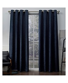 Exclusive Home Criss Cross Eyelash Chenille Grommet Top Curtain Panel Pair