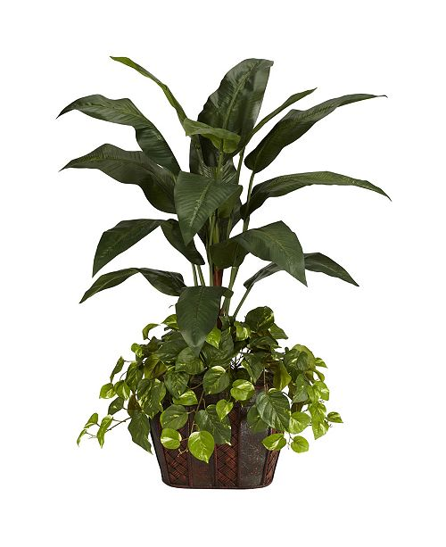 Nearly Natural 4' Bird of Paradise w/ Vase and Pothos Silk Plant