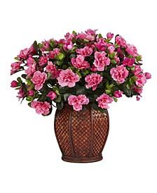 Azalea w/ Vase Silk Plant