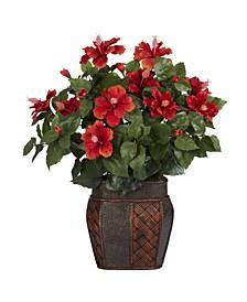 Hibiscus w/ Vase Silk Plant