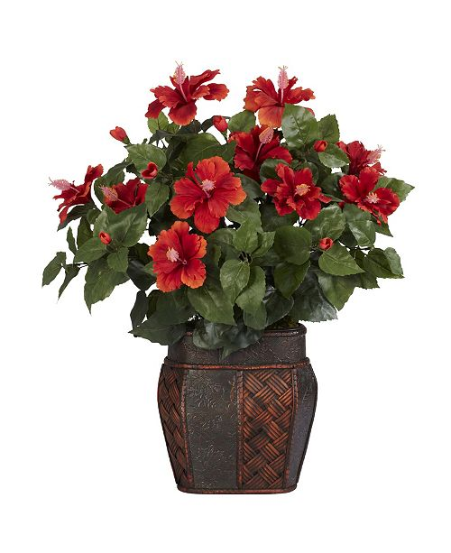 Nearly Natural Hibiscus w/ Vase Silk Plant