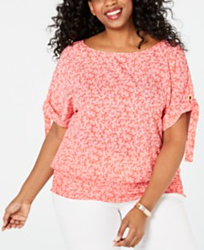 MICHAEL Michael Kors Plus Size Painterly Reef Top