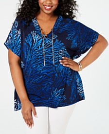 MICHAEL Michael Kors Plus Size Reef Lace-Up Tunic Top