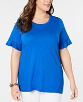 a55f15b4b9 MICHAEL Michael Kors Plus Size Textured Ruffle-Sleeve T-Shirt