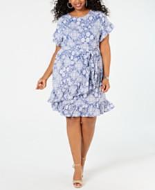 MICHAEL Michael Kors Plus Size Ruffled Tie-Waist Dress