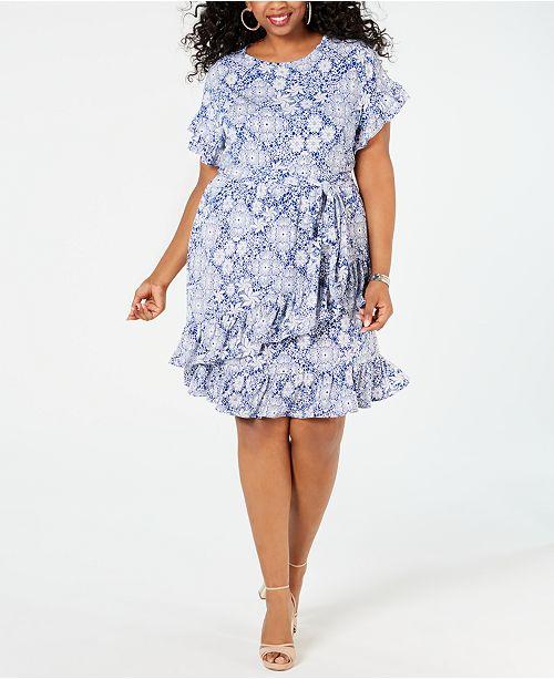 Michael Kors Plus Size Ruffled Tie-Waist Dress & Reviews ...