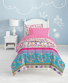 Dream Factory Peace & Love Twin Comforter Set