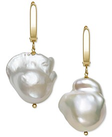 Cultured Baroque Pearl (14-15mm) Drop Earrings in 14k Gold, Created for Macy's