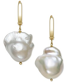 Belle de Mer Cultured Baroque Pearl (14-15mm) Drop Earrings in 14k Gold, Created for Macy's