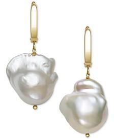 Belle de Mer Cultured Baroque Pearl (14-15mm) Drop Earrings in 14k Gold, Created for Macy's