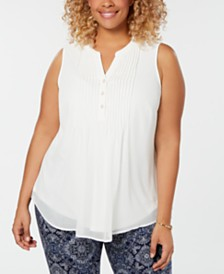 Charter Club Plus Size Pleated Pintuck Top, Created for Macy's