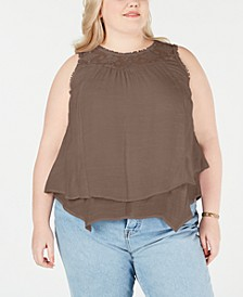 Plus Size Lace-Yoke Crochet-Trim Tiered Top, Created for Macy's