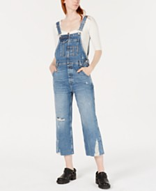 Free People Baggy Boyfriend Distressed Capri Jean Overalls