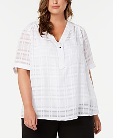Alfani Plus Size Plaid V-Neck Top, Created for Macy's