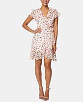 9f061791c560 Betsey Johnson Petite Printed Ruffled Wrap Dress