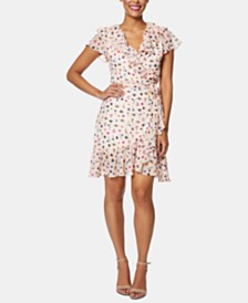Betsey Johnson Petite Printed Ruffled Wrap Dress