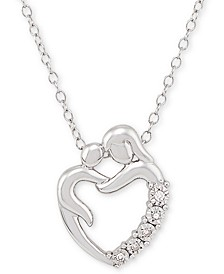 "Diamond Accent Mother & Child 18"" Pendant Necklace in Sterling Silver"