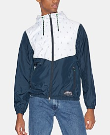 A|X Armani Exchange Men's Hooded Logo Windbreaker