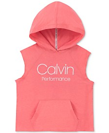 Calvin Klein Performance Big Girls Logo-Print Sleeveless Hoodie