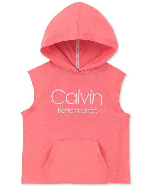 Calvin Klein Big Girls Logo-Print Sleeveless Hoodie