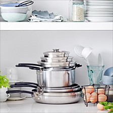 Levels 11-Pc. Stainless Steel Stackable Ceramic Nonstick Cookware Set, Created for Macy's
