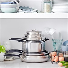 GreenPan Levels 11-Pc. Stainless Steel Stackable Ceramic Nonstick Cookware Set, Created for Macy's