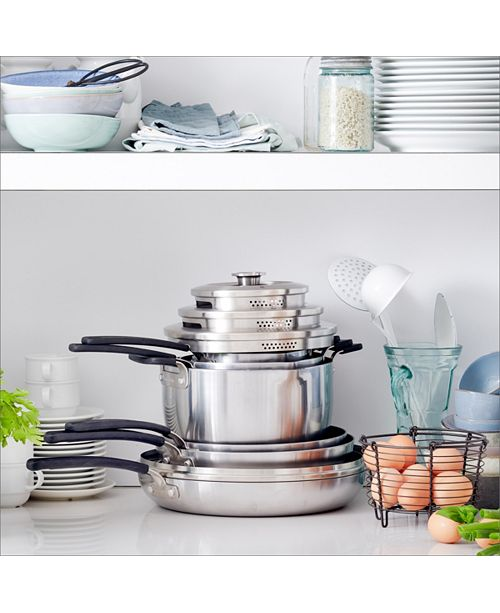 Levels 11-Pc  Stainless Steel Stackable Ceramic Nonstick Cookware Set,  Created for Macy's