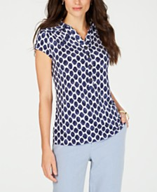 Charter Club Printed Cap-Sleeve Polo, Created for Macy's