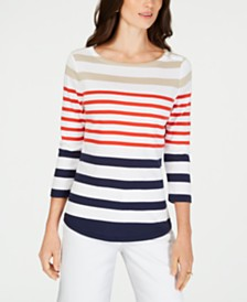 Charter Club Pima Cotton  Button-Shoulder Stripe Top, Created  for Macy's